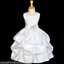 $30 ships from US, WHITE BRIDESMAID FORMAL WEDDING FLOWER GIRL DRESS 12-18M 2/2t 3t 4/4T 5/6 7/8 10
