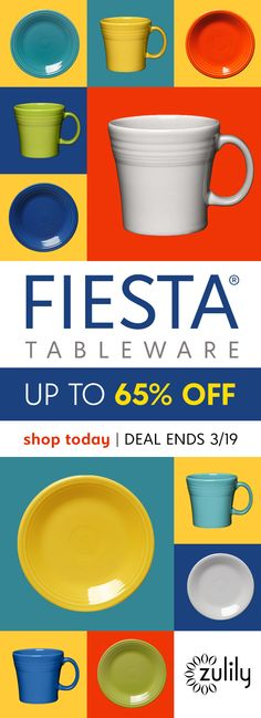 Sign up to shop Fiesta tableware up to 65% off. Add flavor to your home with this collection of vibrant and contemporary tabletop essentials and beyond. Deal ends 3/21.