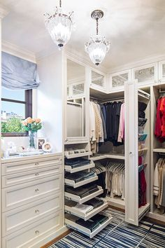 LA Closet Design - closets - luxurious closet, walk in closet, walk in closet ideas, closet ideas, antiqued mirror doors, antiqued mirrored ... I'm dying.
