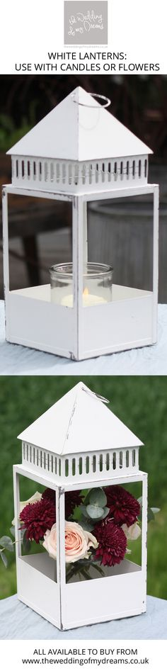 Have you thought about using lanterns as an alternative to a vase for your wedding centrepieces? Our white lanterns are popular as lanterns at weddings, Spring Wedding Centerpieces, Wedding Lanterns, Vase Centerpieces, White Lanterns, Gazebo, Outdoor Structures, Candles, Canning, Flowers