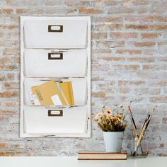 Charlton Home Norfork Distressed Wall Mail Organizer Letter Bin Wall File Organizer, Wall File Holder, Key Organizer, Hanging Mail Organizer, Hardware Organizer, Magazine Organization, Wall Organization, Organizing Ideas, Mail Storage