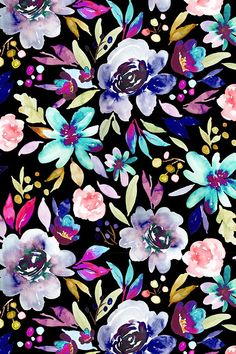 Berry Rose Black by indybloomdesign - Hand painted florals on a black background with bold neon shades. Beautiful hand painted flowers on fabric, wallpaper, and gift wrap. #design #floral #watercolor #neon #homedecor #home #decorate