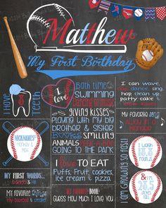 The best Baseball Birthday Chalkboard First Birthday Board, Baseball First Birthday, Boys First Birthday Party Ideas, First Birthday Posters, Birthday Themes For Boys, Baby Boy 1st Birthday, Birthday Photos, Baseball Party, Baseball Lamp