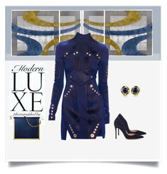 """""""Navy Chic Post-it"""" by dmschar ❤ liked on Polyvore featuring Chanel, Thierry Mugler and Gianvito Rossi"""