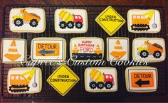 Custom construction trucks for a 2nd birthday party! Decorated with royal icing.
