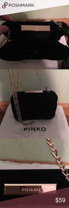Pinko Caen clutch Pinko Caen clutch , black Velour , gold chan de touchable, can be worn as a shoulder bag , great accessory , completes an evening outfit . Available in gift box and a Shopping  bag from Pinko boutique , exelant Christmas gift !!! Pinko Bags Clutches & Wristlets