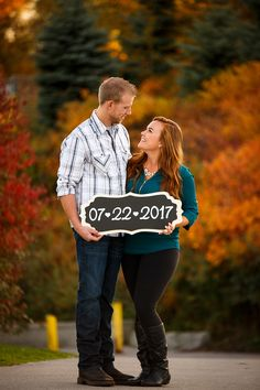 Outdoor fall engagement session save the date.