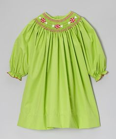 Take a look at this Lime Peppermint Bishop Dress - Infant by Petit Ami on #zulily today!