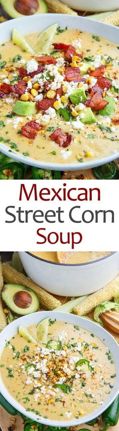 Mexican Street Corn Soup has a very delicate taste and creamy texture. Corn soup is prepared from a minimum of ingredients.Corn soup has a very delicate creamy Corn Soup Recipes, Crockpot Recipes, Cooking Recipes, Healthy Recipes, Sugar Free Recipes Vegetarian, Sauce Recipes, Casserole Recipes, Fresh Corn Recipes, Vegetarian Soups
