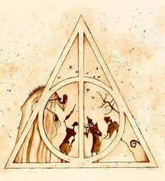 The Three Brothers...This is the only deathly hallows idea for a tattoo I've yet to like. I like how the characters are actually in this one.