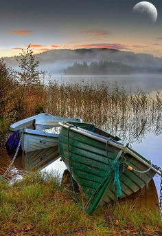 A pair of derelict boats, Loch Ard, Trossachs, by Karl Williams- two boats chained Old Boats, Small Boats, Beautiful World, Beautiful Places, Beautiful Pictures, Row Row Your Boat, The Boat, Boat Art, Float Your Boat