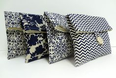 Navy Wedding Clutches Set of 4 Navy Blue and Taupe Makeup Bags Bridesmaid GIfts
