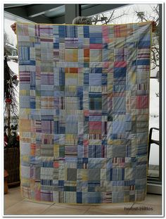 """Shirt Off His Back"" by Charlotte B quilt Man Quilt, Boy Quilts, Scrappy Quilts, Shirt Quilts, Plaid Quilt, Plaid Fabric, Low Volume Quilt, Recycled Shirts, Quilt Modernen"