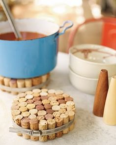 A nifty little way to keep those hot dishes off your table. #corks
