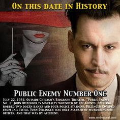 Public Enemy Number One met his end on this date. Find out more about John Dillinger and other historical people at: http://www.myfivebest.com