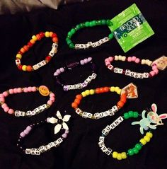Kandi Source by graciemirrors Rave Bracelets, Pony Bead Bracelets, Beaded Braclets, Friendship Bracelets With Beads, Trendy Bracelets, Summer Bracelets, Beaded Anklets, Pony Beads, Rave Candy
