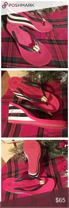 """🔥Final Markdown Price🔥Juicy Couture Sandal NWOT JC wedge sandal in red white black 3"""" wedge front toe adorned with gold JC emblem mint condition never worn Juicy Couture Shoes Sandals"""
