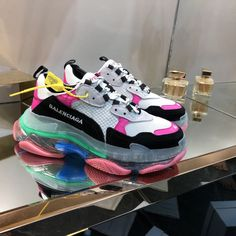 Balenciaga Triple S Transparent Sneakers Source by shoes Moda Sneakers, Cute Sneakers, Latest Sneakers, Sneakers Fashion, Fashion Shoes, Shoes Sneakers, Fashion Goth, Rainbow Sneakers, Miami Fashion
