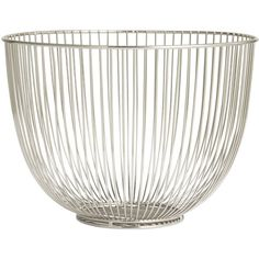 H&M Metal basket featuring polyvore, home, home decor, small item storage, silver, h&m, metal home decor, metal basket, round basket and round metal basket
