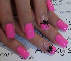 Pink Bow Nail Designs - 50+ Cute Bow Nail Designs