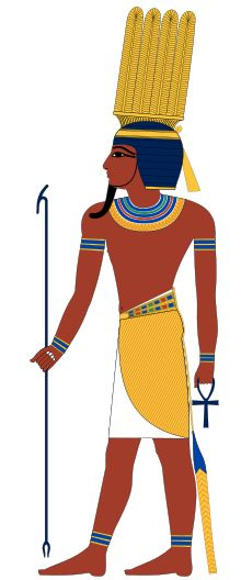 Shu the personification of Air, the father of Nut the sky goddess and Geb, the God of the earth, his grandchildren are Osiris, Set, and Isis and Nephthys.  He is considered a cooling, calming influence and a pacifier.