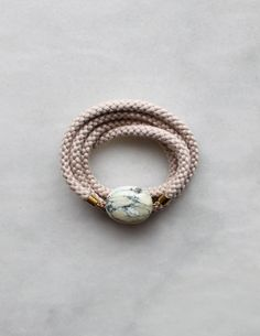 braided rope and marble necklace