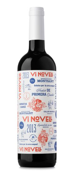 Vi Novell 2013. This is a fresh and fruity wine which is bottled before its fermentation is finished. Therefore, it must be consumed within a short space of time. As it is bottled coinciding with the celebration of the slaughtering of the pig we were inspired by the traditional identities of local butchers.