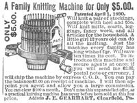 Gearhart Family Knitting Machine 1891 Ad Picture