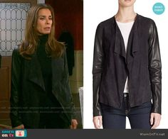 Hope's drape front jacket with leather sleeves on Days of our Lives. Outfit Details: http://wornontv.net/54669/ #DaysofourLives