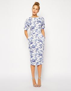 Even has pockets!  ASOS Wiggle Dress in Summer Days Print