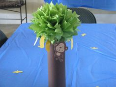 MONKEY PARTY centerpieces (2) mod monkey 1st first birthday party baby shower DECORATION favor decor