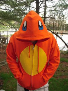 Pokemon Charmander Flaming Tail Dinosaur inspired Hoodie for Adults by PoppityPop, $62.00
