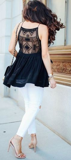 #summer #feminine #style  #outfitideas   Black and White