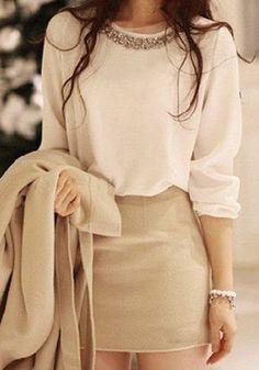 White Plain Diamond Sweet Long Sleeve Blouse