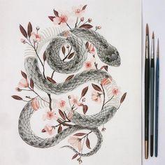Botanical snake commission. #illustration #watercolour #cherryblossom #snake #botanicalwatercolor #winsorandnewton #snakeillustration