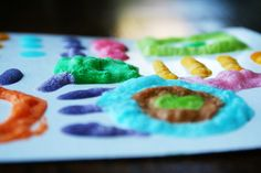 homemade puffy paint: ingredients:  1 Tablespoon self-rising floor, 1 Tablespoon salt; Food coloring;  Enough water to make a paste. Paint onto cardboard thickly. Microwave for 5-10 sec.