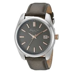 Elegant grey dial with rose gold tone hands and matching grey leather strap. Kenneth Cole New York Men's Classic Watch. Valentines Day presents for boyfriend. Presents For Boyfriend, Boyfriend Gifts, Unique Valentines Day Gifts, Grey Watch, Best Valentine's Day Gifts, New York Mens, Watches For Men, Wrist Watches, Stainless Steel Case