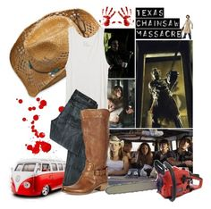 """""""Movie Theme Challenge: 6/50 (Texas Chainsaw Massacre)"""" by jas-ology ❤ liked on Polyvore featuring Morgan, American Eagle Outfitters, Camper, Band of Outsiders, 7 For All Mankind, boots, vw van, texas chainsaw massacre, cowboy hat and blood"""