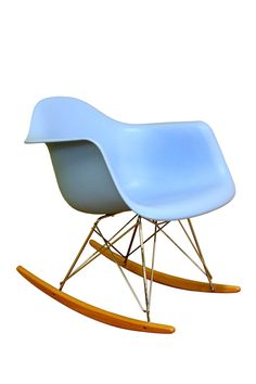 This blue plastic rocking chair has a clean, simple form sculpted to fit the body. Contemporary blue plastic rocking chair with arms. Style # at Lamps Plus. Plastic Rocking Chair, Eames Rocking Chair, Modern Chairs, Modern Furniture, Furniture Design, Reading Nook Chair, Sofa Colors, Nebraska Furniture Mart, Camping Chairs