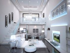 white modern living room