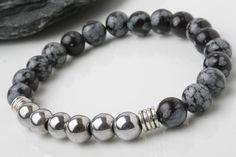 Hematite bracelet, snowflake obsidian bead bracelet, stone bracelet, yoga bracelet, black end grey bracelet, Mala bracelet, Healing Jewelry Hematite Mental Organization, Stability, Grounding, Calming, Hematite is used to improve relationships. If you need your personal