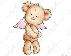 The drawing of cute teddy bear with with daisy. Printable Art.