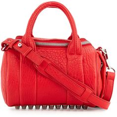 Alexander Wang Mini Rockie Dumbo Pebbled Duffel Bag ($635) ❤ liked on Polyvore featuring bags, luggage and red