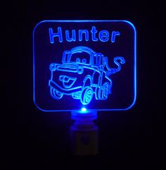 Kids Personalized Tow Mater Night Light by UniqueLEDProducts, $19.00
