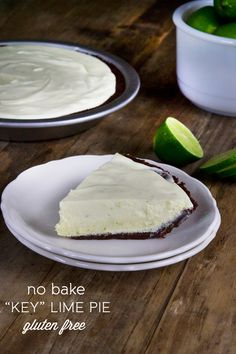 """This no bake gluten free key lime pie is really a """"key lime"""" pie. Have you ever juiced a key lime? It's not something you'd soon forget. They're teeny tiny so you have to juice about 2 pounds of them to … Gluten Free Deserts, Gluten Free Sweets, Gluten Free Cakes, Foods With Gluten, Gluten Free Cooking, Wheat Free Recipes, Gf Recipes, Gluten Free Recipes, Cooking Recipes"""