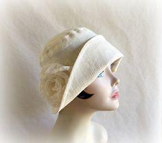 Linen Cloche, Women's Cream Summer Hat, Flapper Inspired Hat, Large Chiffon Rose, 1920's Cloche,  Handmade in the USA