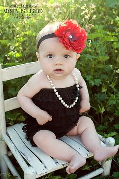 i love this pic, the outfit and the big bow.    Big flower headband for toddler girlnewborn by snazziebabyboutique, $12.00