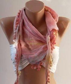 Pink Rainbow and Elegance Shawl / Scarf with Pompom by womann