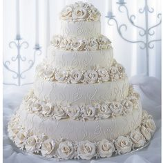 Roses And Lace Romance Cake - Rose and stephanotis blossom borders add distinctive detail to this attractive cake design. Lacy blossom pattern adds a touch of dimension. Big Wedding Cakes, Wedding Cake Fresh Flowers, Amazing Wedding Cakes, Wedding Cake Decorations, Elegant Wedding Cakes, Wedding Cake Designs, Lace Wedding, Floral Wedding, Wedding Dresses