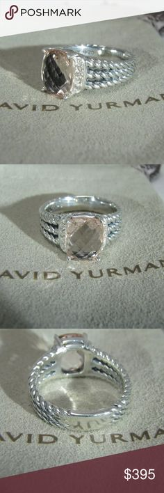 David Yurman Wheaton 10x8mm morganite size 4.5. Pouch included and gift condition .  DY hallmark 925 and guaranteed authentic. David Yurman Jewelry Rings